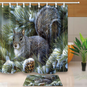 Image Is Loading Cute Squirrel And Pine Tree Bathroom Decor Fabric