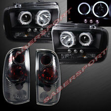 05-07 FORD F250 F350 CCFL HALO PROJECTOR HEADLIGHTS BLACK w/ LED + TAIL LIGHTS