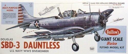 Guillågs 1003 Douglas SBD -3 Dauntless Divebomber modellllerler Kit tillverkad i USA