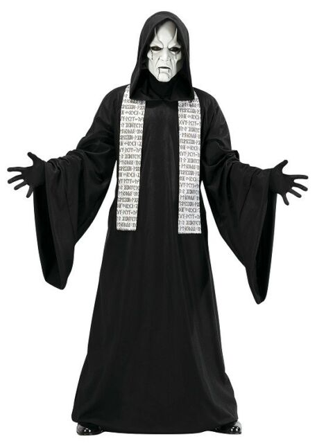 Phantom Mime Hooded Robe White Mask Scary Fancy Dress Up Halloween Adult Costume