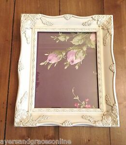 Shabby Chic Ornate 8 X 10 Picture Frame Antique Black Ivory Gold