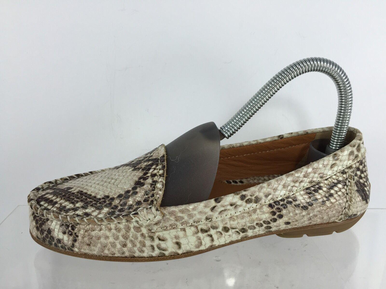 Geox Respira Womens Beige/Brown Snake Textured Flats 36