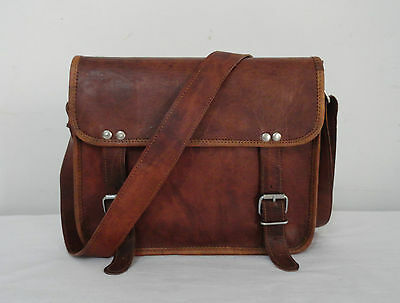 "Small 11x9"" Vintage Leather Messenger Bag Handbag Satchel Tab/iPad CrossBody Bag"