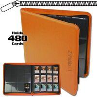 Bcw Orange Zipper Z-folio Lx Binder Album 12 Pocket Pages Card Storage