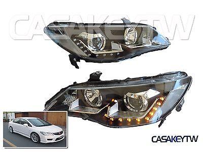 Acura CSX Led Headlights Black Halo LED Projector Honda Civic Type R FD1 FD2
