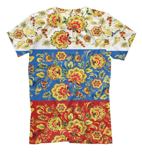 russian ornament t-shirt flag of Russia tee Hohloma print
