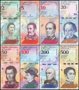 VENEZUELA-FULL-SET-8-PCS-2-5-10-20-50-100-200-500-Bolivares-soberanos-2018-UNC