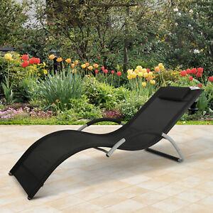 Details Zu Gartenliege Sonnenliege Stoffliege Liegestuhl Mit Kissen Relaxliege Ergonomisch