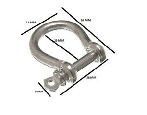 Manille et Broche Câble Corde Fixation 6mm 1/4 BZP Paquet Taille 40