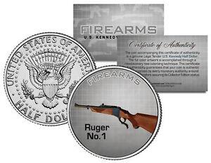 RUGER-No-1-Gun-Firearm-Rifle-Sturm-JFK-Kennedy-Half-Dollar-US-Colorized-Coin