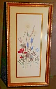Vintage-Floral-Print-Double-Matted-10-by-19-inches-Signed