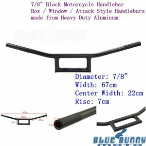 1x-Black-Motorcycle-7-8-034-Window-Bars-Handlebars-Wide-For-Honda-Suzuki-Yamaha-New