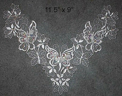 Large  White Pearl & Sequin Bridal Butterfly Applique - PS-22 - NEW