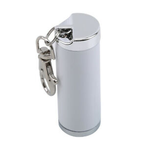 Metal-Portable-Cylinder-Ashtray-Traveling-Pocket-Keyring-Outdoor-Smoking-White
