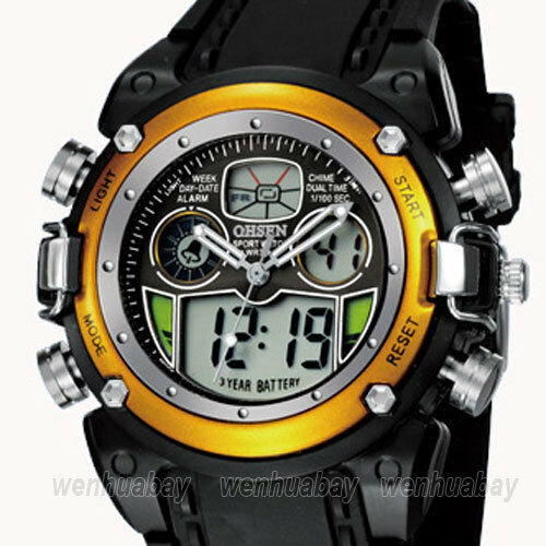OHSEN Dual Time Luxury Alarm Chronograph Sport Mens Wristwatch Cool FOH26