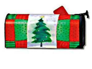 CHRISTMAS-TREE-PATCHWORK-QUILT-Magnetic-Mailbox-Cover-Christmas-Holiday-USA-Made