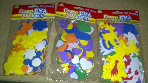 Grafix Eva Foam Animal Flower or Heart Stickers Self Adhesive Assorted Pack 60