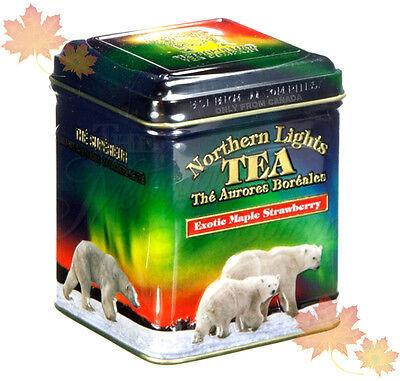 "CANADA PREMIUM MAPLE STRAWBERRY TEA 24tbg IN DECORATIVE TIN ""NORTHERN LIGHTS"""