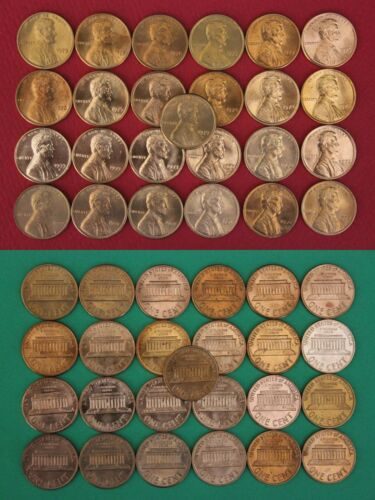 1970 1971 1972 1973 1974 1975 1976 1977 1978 1979 Lincoln Cents from Mint Sets