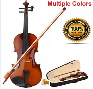 Acoustic VIOLIN with Case Bow & Rosin Fiddle Set Kit | Full Size 4/4 Great GIFT!