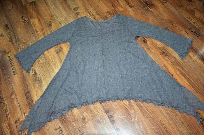 Lagenlook Sophisticated hexen-tunika-shirt Bat Mesh Grey 44,46, 48 L,XL,XXL