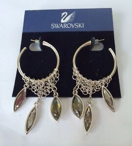 Details About Swarovski Swan Damocles Navette Crystal Discontinued Rhodium Pierced Earrings