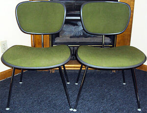 Rare Pair Herman Miller Eames Mid Century Upholstered Office Chairs Original