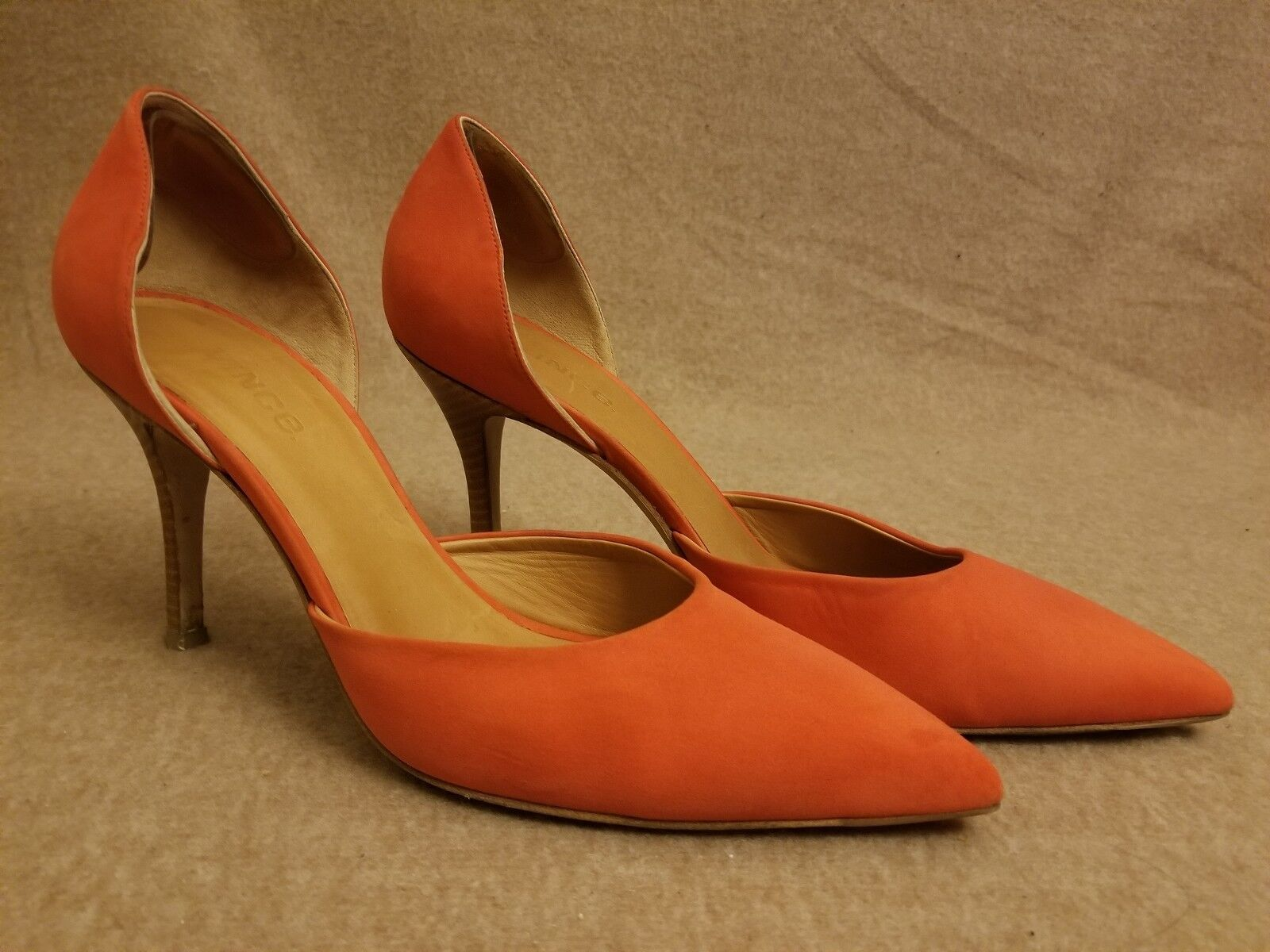 VINCE Celeste Donna D'Orsay Orange Suede Heels Made in Italy Shoes Size 10 M