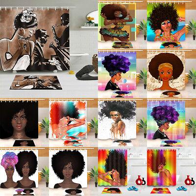 Waterproof Fabric Afro African American Woman Shower Bathroom Curtain Hooks Set