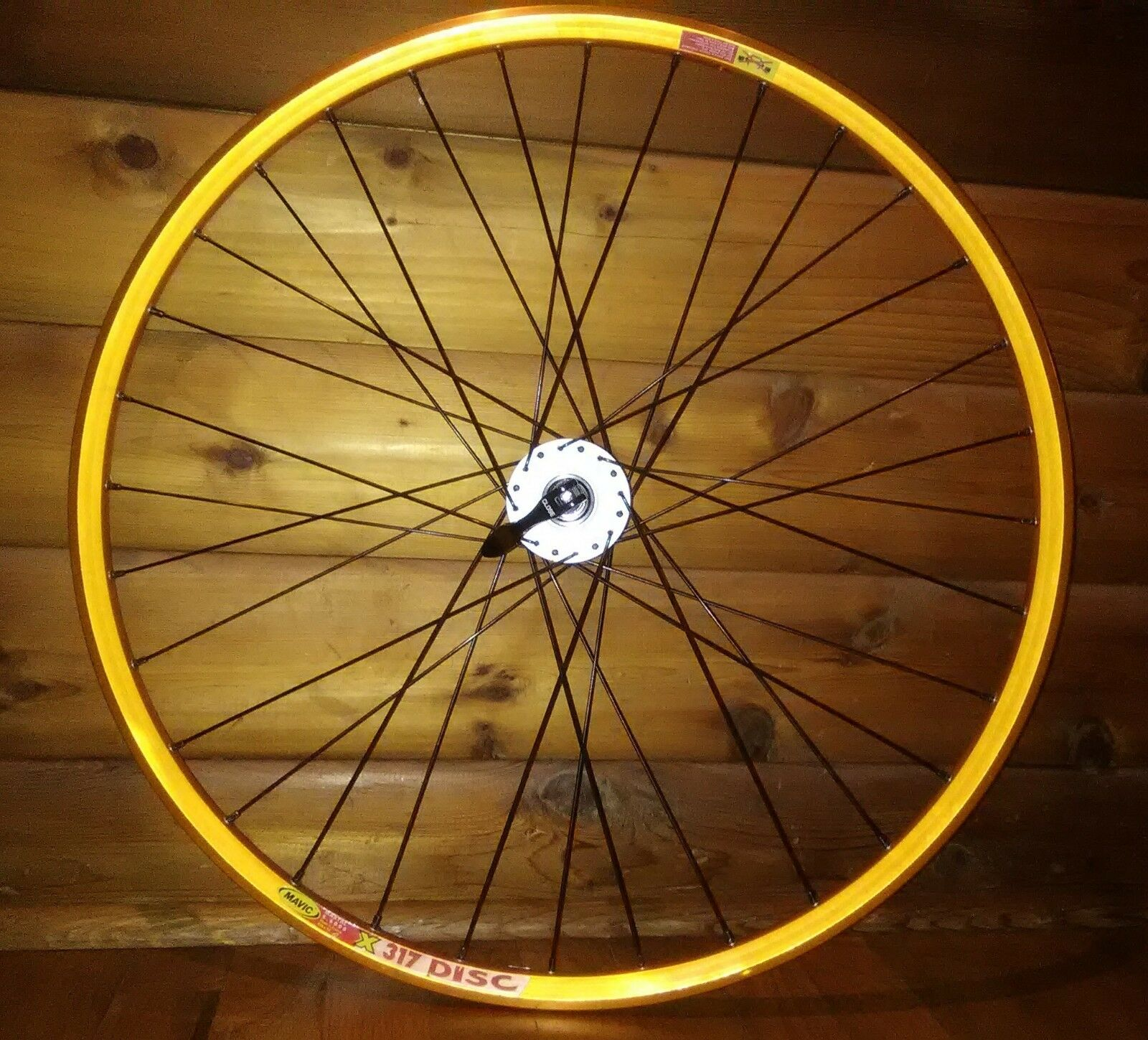 Vintage '99 orange Mavic X317  Rim w Wheelsmith spokes, Redline disc hub 26  MTB  comfortably