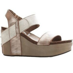 9812cd34d85 Image is loading Women-OTBT-BUSHNELL-968-GOLD-Slingback-Wedge-Sandals-