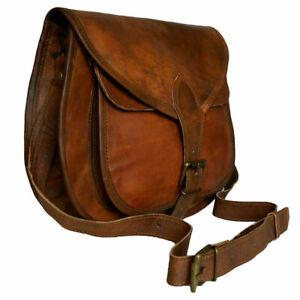 Vintage-Saddle-Bag-Genuine-Goat-Leather-Brown-Messenger-Shoulder-Cross-body-Bag