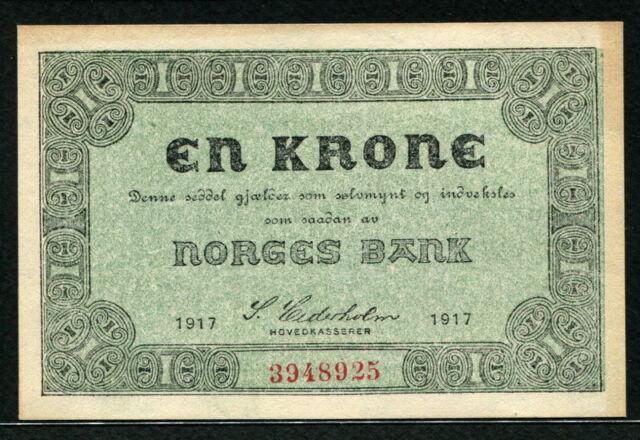 Norway 1917, 1 Krone, 3948925, P13, UNC Border stain