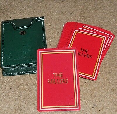 Gemaco Deck Playing Cards Red w The Millers in Gold w Leather Case Great Condit