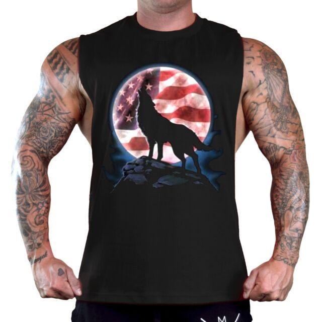 Men's American Wolf Black T-Shirt Tank Top Gym Muscle Workout Wild Spirit Moon