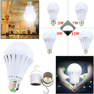 Details About Led E27 Energy Saving Rechargeable Intelligent Light Bulbs Lamp Emergency Lights