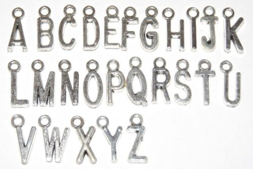 5 X A-Z alfabeto lettera argento anticato charms gioielli Tibetano in Argento