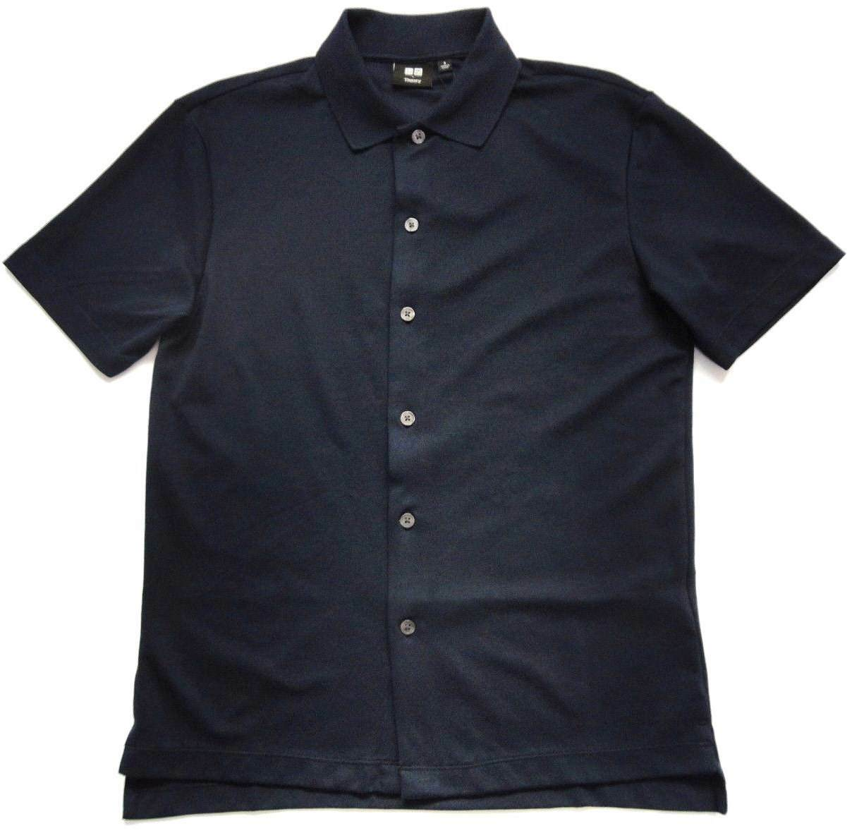 Théorie x Uniqlo & 039;Dry Comfort Pique& 039; SS boutons sur le devant Polo Shirt homme M bleu marine Neuf avec étiquettes