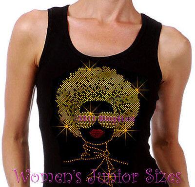 Lady with Afro - GOLD - Rhinestone Iron on Tank Top - Pick Size S-3XL - Shirt