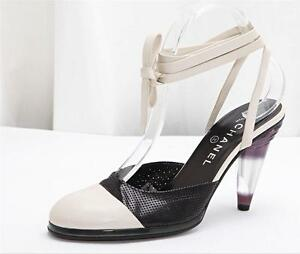 Chanel Black And White Ankle Strap Shoes