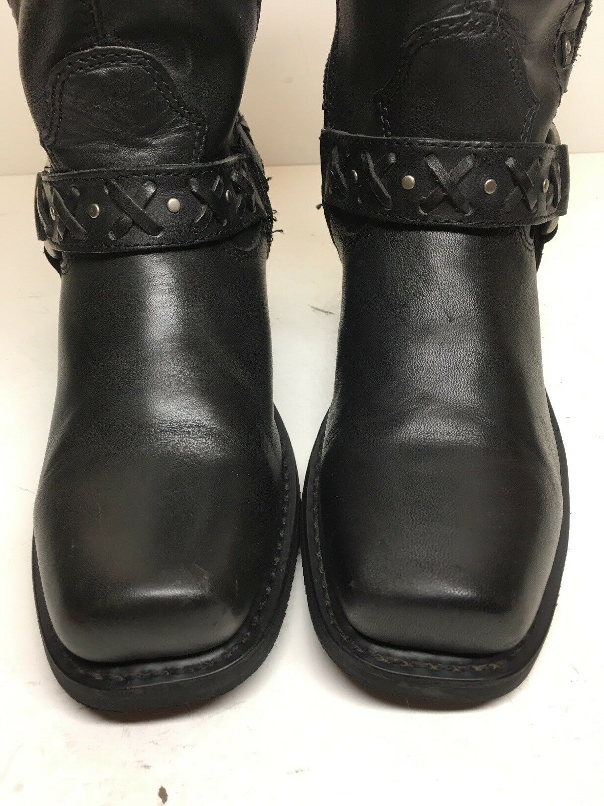 VTG WOMENS HARLEY DAVIDSON SQUARE TOE HARNESS MOTORCYCLE BLACK BOOTS BOOTS BOOTS SIZE 6.5 4e4529