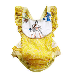 NWT-Disney-Princess-Belle-Beauty-and-the-Beast-Baby-Girls-Ruffle-Lace-Romper