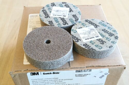 "3M Scotch Brite Cut /& Polish Deburring Unitized Wheel 7A Med 3"" x 3//4"" x 3//8/"" 3"