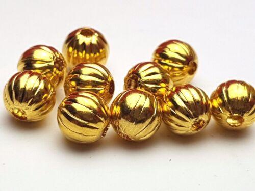 10 X Metallperle Melonenperlen Tibet gold 7 mm