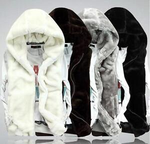 Mens-Winter-warm-fashion-jacket-hooded-faux-fur-vest-coat-vest-waistcoat-M-3XL-Y