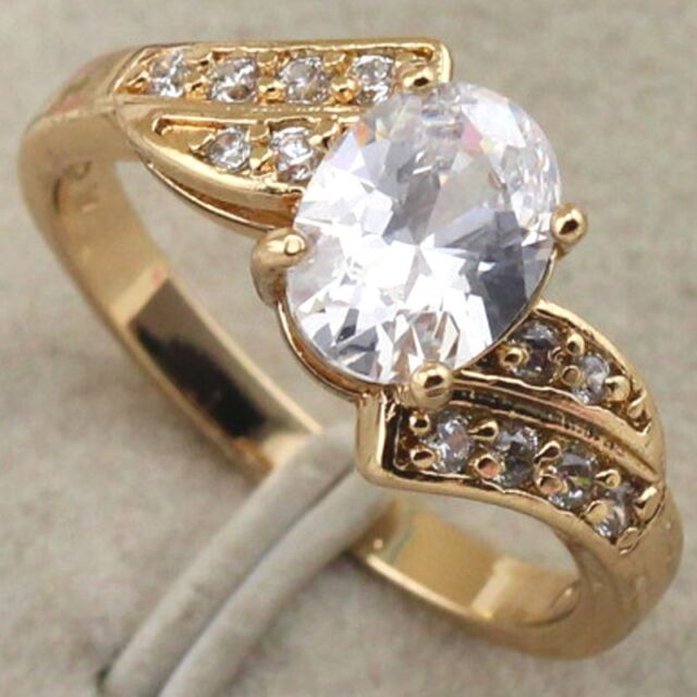 Size 4.5~7.5 Lovely Vogue Jewelry White CZ Gold Filled Class Ring  rj1409