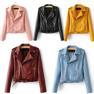 FR-Blouson-Perfecto-Femme-simili-Cuir-Veste-Fermeture-Blazer-Manteau-court-crop