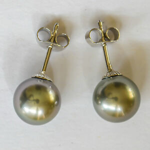 TAHITIAN-PEARL-EARRINGS-9mm-CULTURED-PEARLS-REAL-9K-375-9CT-WHITE-GOLD-STUDS-NEW