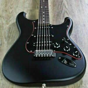 Naughty boy ST electric guitar black color solid body with red line rosewood