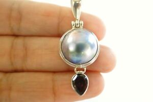 Round-Black-Blue-Mabe-Pearl-Red-Garnet-Balinese-925-Sterling-Silver-Pendant
